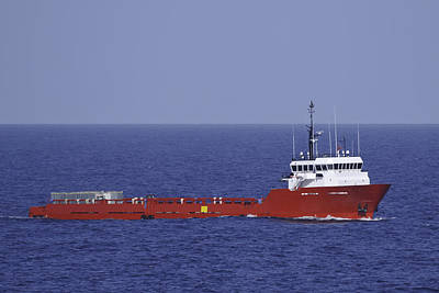 Photograph - Red Supply Vessel In Blue Ocean by Bradford Martin