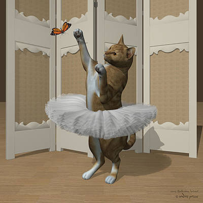 Red Tabby Ballet Cat On Paw-te Art Print by Andre Price