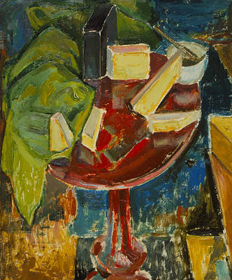 Red Table Top Still Life Art Print by Alfred Henry Maurer