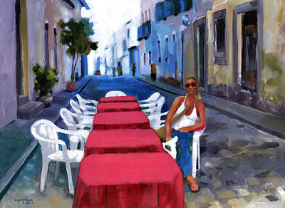 Outdoor Cafe Painting - Red Tables In The Pelourinho by Douglas Simonson