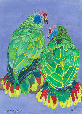 Red Tailed Amazon Parrots Art Print by Anthony Purification