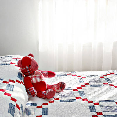 Bed Quilts Photograph - Red Teddy Bear by Art Block Collections