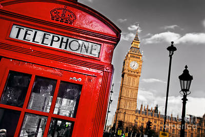 Icon Photograph - Red Telephone Booth And Big Ben In London England The Uk by Michal Bednarek