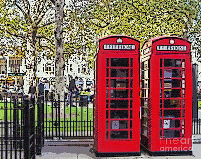 City Digital Art - Red Telephone Boxes London England by Liz Leyden