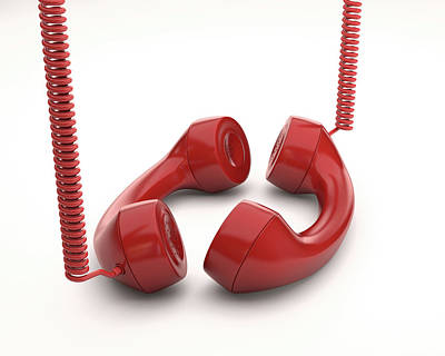 Red Telephone Handsets Art Print by Ktsdesign