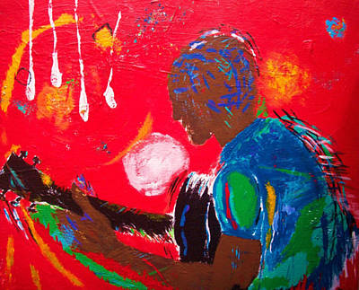 Black Man Playing Guitar Painting - Red by Tessa Fuqua