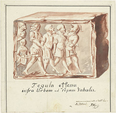 Found Art Drawing - Red Tile With Image Of Imprisonment Of Batavians By Romans by Quint Lox