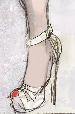 Erotica Mixed Media - Red Toe Shoe by Carolyn Weltman