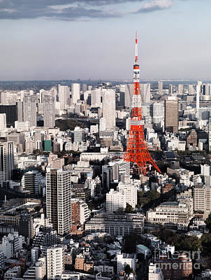 Red Tokyo Tower Surrounded By Tokyo City Buildings Print by Oleksiy Maksymenko