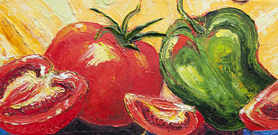 Red Tomato And Green Pepper Print by Paris Wyatt Llanso