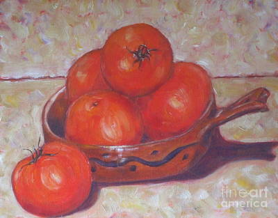 Red Tomatoes In A Dish Art Print by Paris Wyatt Llanso