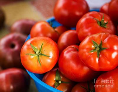 Photograph - Red Tomatoes In Blue Container by Rebecca Cozart