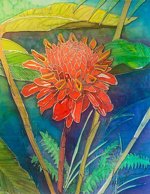 Painting - Red Torch Ginger by Kelly     ZumBerge