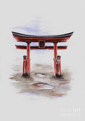 Japanese-art Painting - Red Torii Japanese Temple Gate. by Mariusz Szmerdt