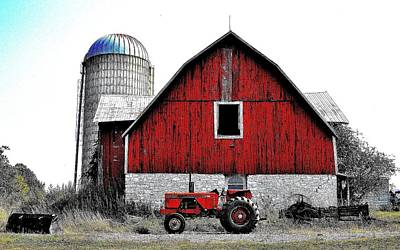 Photograph - Red Tractor - Canada by Jeremy Hall