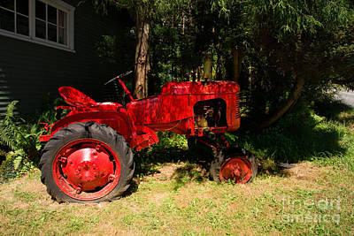 Snug Digital Art - Red Tractor by Carol Ailles