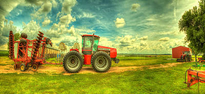 Red Tractors Photograph - Red Tractor Farm by  Caleb McGinn