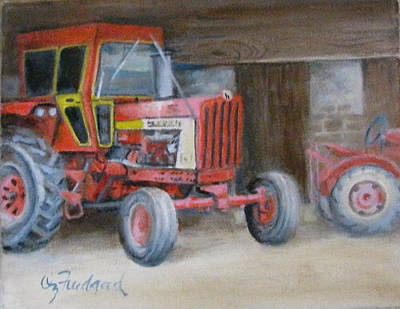 Painting - Red Tractor by Oz Freedgood