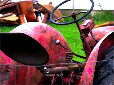 Red Tractor Rural Photography Art Print by Laura Carter