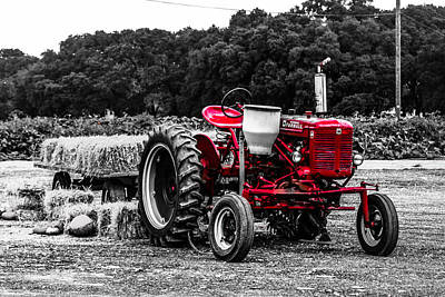 Red Tractor Art Print by Steven  Taylor