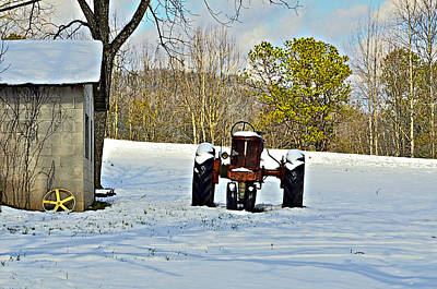 Red Tractor Art Print by Susan Leggett