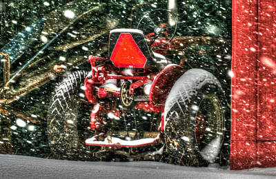 Country Scenes Photograph - Red Tractor Winter by Michael Allen
