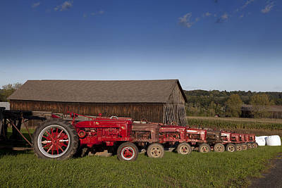Photograph - Red Tractors And Tobacco Barn Located In Suffield Connecticut by Carol M Highsmith
