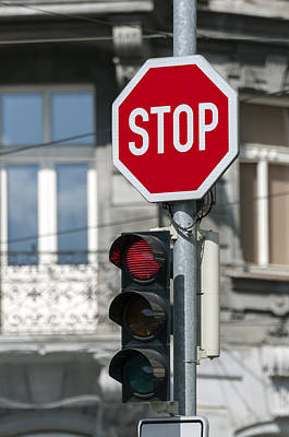 Stop Sign Photograph - Red Traffic Light. by Fernando Barozza