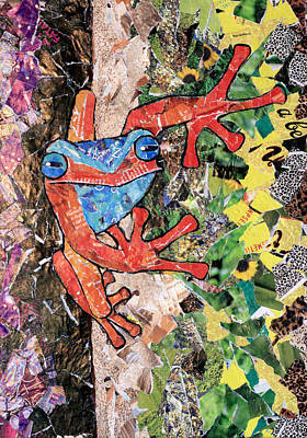 Red Tree Frog Recycled Magazine Art Original