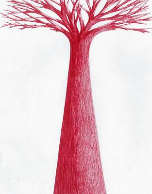 Drawing - Red Tree by Giuseppe Epifani