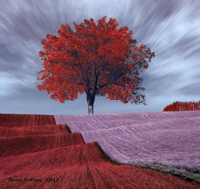 Art Print featuring the painting Red Tree In A Field by Bruce Nutting