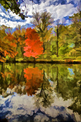 Photograph - Red Tree On The Canal  by David Letts