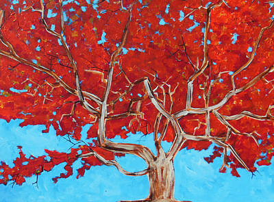 Painting - Red Tree Wip by Dan Whittemore