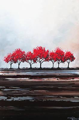 Red Trees Abstract Art Print by Christine Krainock