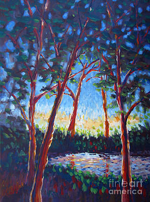 Port City Of Stockton Painting - Red Trees by Vanessa Hadady BFA MA