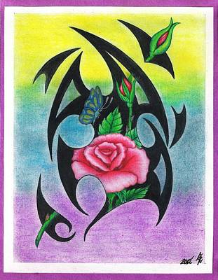 Hand Crafted Drawing - Red Tribal Roses by Gene Pippert