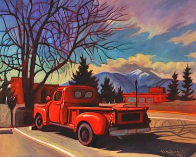 Art Print featuring the painting Red Truck by Art James West