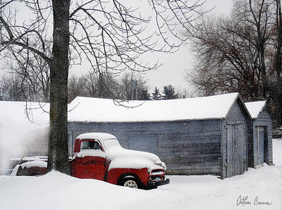 Old Barn Painting - Red Truck by Arthur Barnes