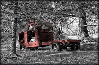 Carcass Photograph - Red Truck Carcass by Bill Cannon