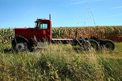 Red Truck In A Corn Field Art Print