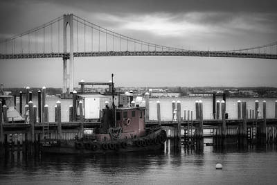 Landmarks Royalty Free Images - Red Tugboat and Newport Bridge Royalty-Free Image by Joan Carroll