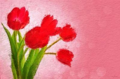 Painting - Red Tulips #2 by Sandy MacGowan