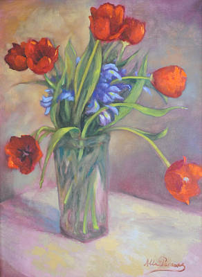 Art Print featuring the painting Red Tulips by Alla Parsons