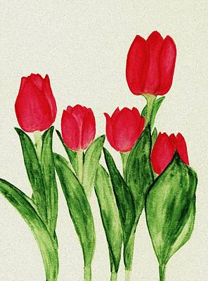 Beauty Painting - Red Tulips by Anastasiya Malakhova