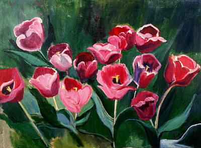 Art Print featuring the painting Red Tulips In A Baker's Dozen by Betty Pieper