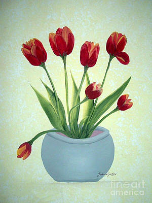 Red Tulips In A Pot Art Print by Barbara Griffin