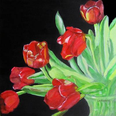 Painting - Red Tulips In Vase by Linda Feinberg