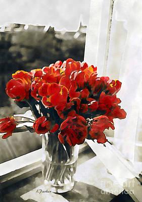 Amsterdam Digital Art - Red Tulips In Window by Linda  Parker