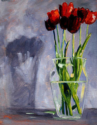 Red Tulip Painting - Red Tulips by Nancy Merkle