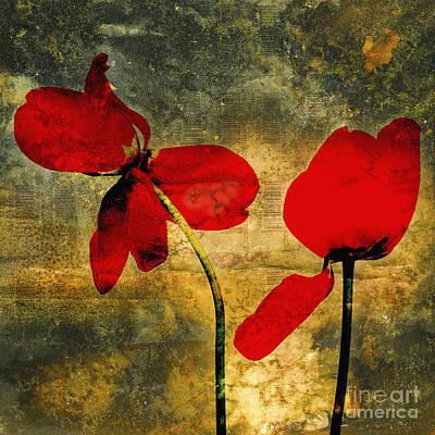Red Tulips On A Textured Background Art Print by Bernard Jaubert